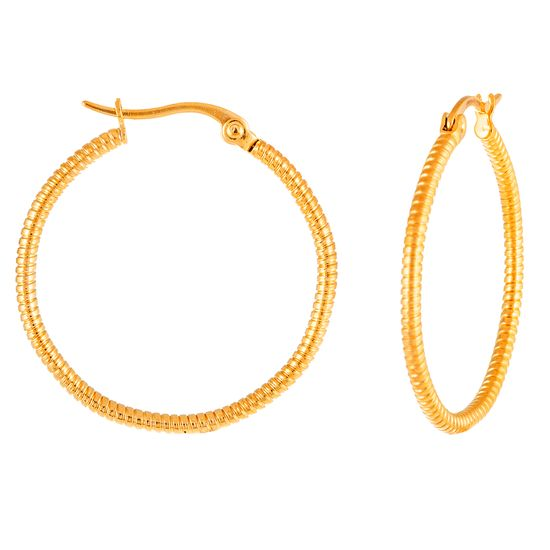 Imagen de Gold-Tone Stainless Steel Diamond Cut Hinge Hoop Earring