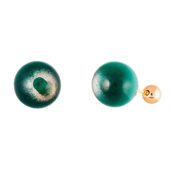 Imagen de Gold-Tone Stainless Steel Emerald Stone Ball Post Earring