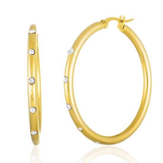Imagen de Gold-Tone Stainless Steel Cubic Zirconia 50mm Hoop Earring