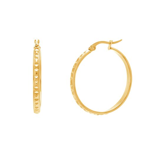Imagen de Gold-Tone Stainless Steel Textured 40mm Hinge Hoop Earrings