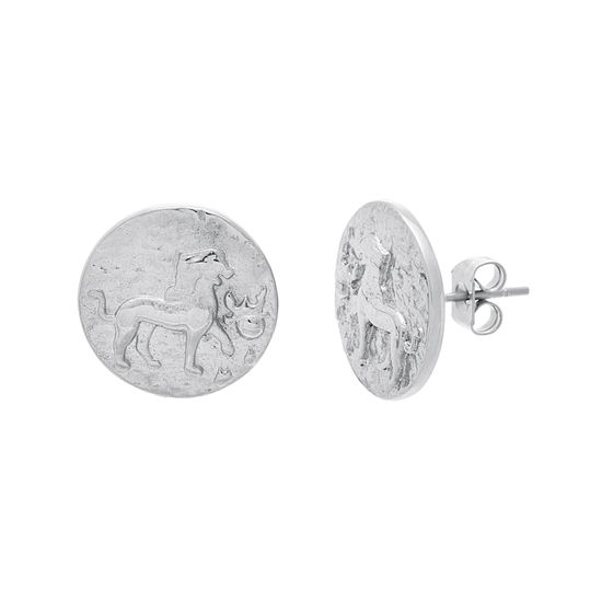 Imagen de Silver-Tone Stainless Steel 14MM Lion Round Post Earring
