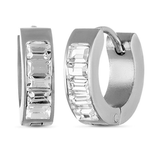 Imagen de Silver-Tone Stainless Steel Cubic Zirconia Baguette Band Huggie Earrings