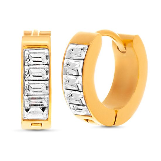 Picture of Gold-Tone Stainless Steel Baguette Crystal Huggie Earring