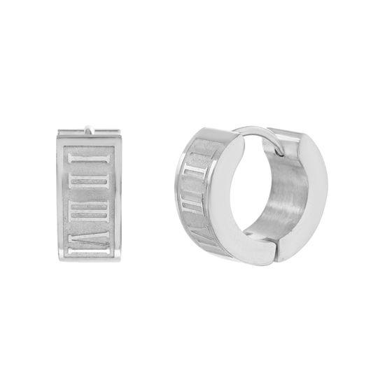 Imagen de Silver-Tone Stainless Steel Roman Numerals Huggie Earring