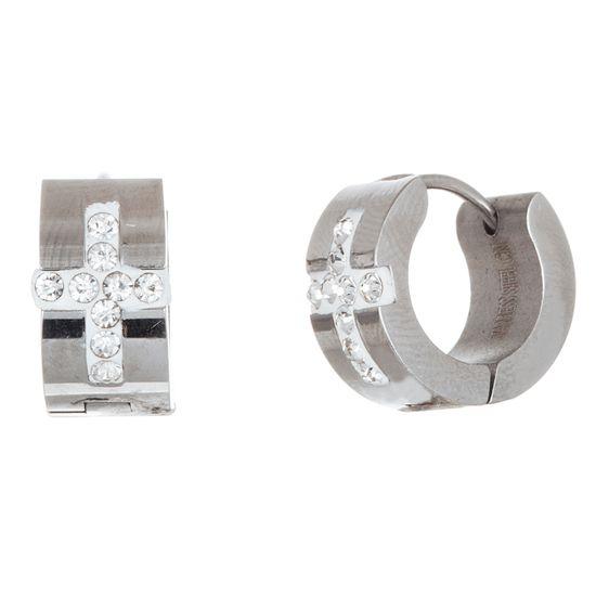 Imagen de Men's Silver-Tone Stainless Steel Cubic Zirconia Cross Huggie Earrings