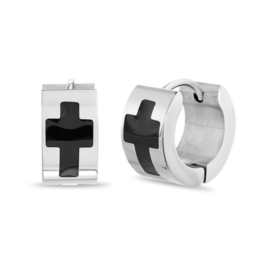 Imagen de Men's Two-Tone Stainless Steel Cross Huggie Earrings