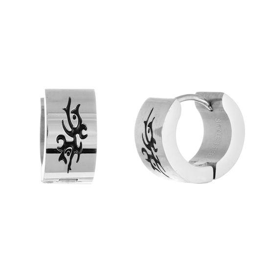 Imagen de Men's Two-Tone Stainless Steel Tribal Design Huggie Earrings