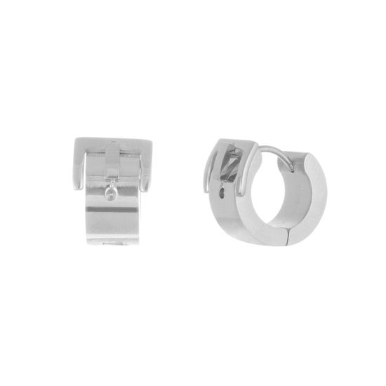 Picture of Silver-Tone Stainless Steel Belt Buckle Design Huggie Earring