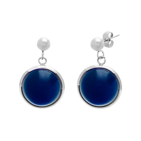 Imagen de Gold-Tone Stainless Steel Royal Blue Stone Round Dangle & Polished Ball Post Earring