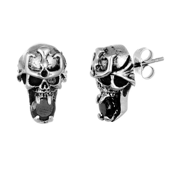 Imagen de Stainless Steel Oxidized Black Cubic Zirconia Skull Post Earrings