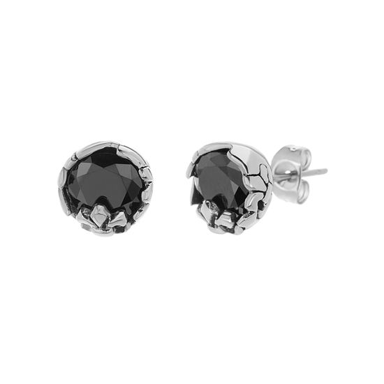 Imagen de Stainless Steel Oxidized Black Cubic Zirconia Round Zig Zig Post Earrings