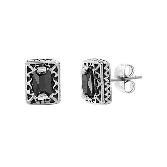 Imagen de Stainless Steel Oxidized Black Cubic Zirconia Rectangle Post Earrings