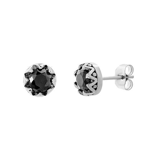 Imagen de Stainless Steel Oxidized Black Cubic Zirconia Bezel Post Earrings