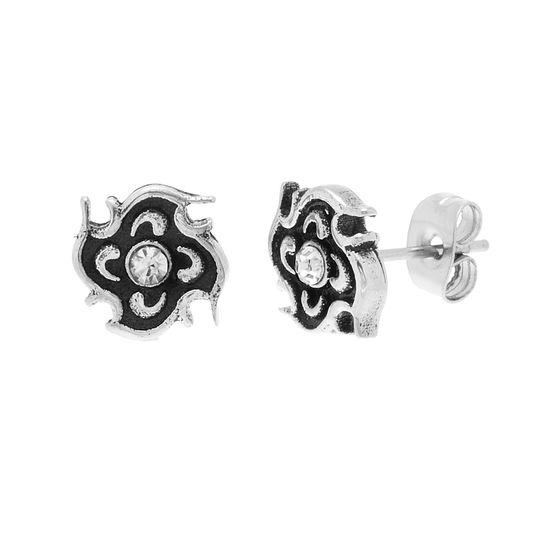 Imagen de Stainless Steel Oxidized Cubic Zirconia Post Earrings