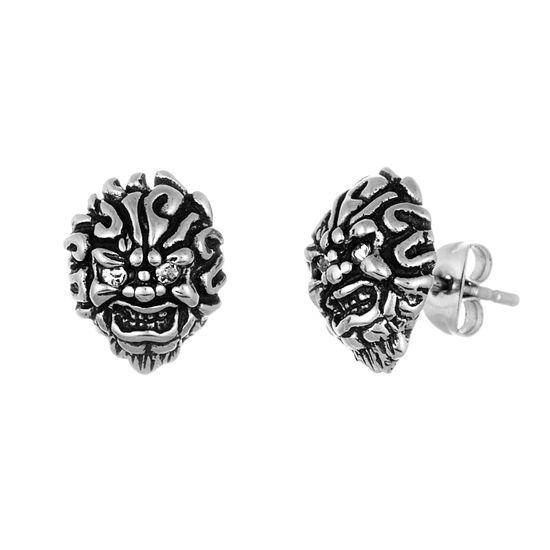 Imagen de Stainless Steel Oxidized Cubic Zirconia Fire Skull Post Earrings