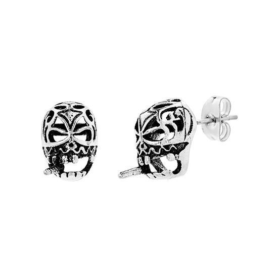 Imagen de Stainless Steel Oxidized Skull With Cigarette Earring