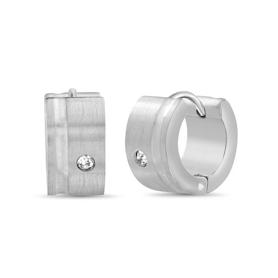 Imagen de Men's Silver-Tone Stainless Steel Cubic Zirconia Matte Huggie Earrings