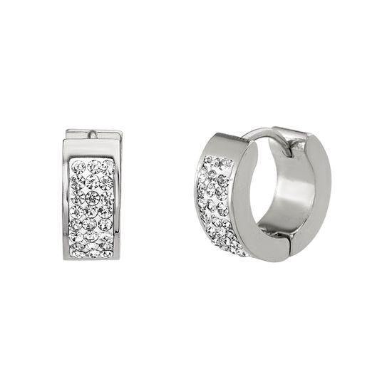 Imagen de Silver-Tone Stainless Steel Cubic Zirconia Huggie Earring