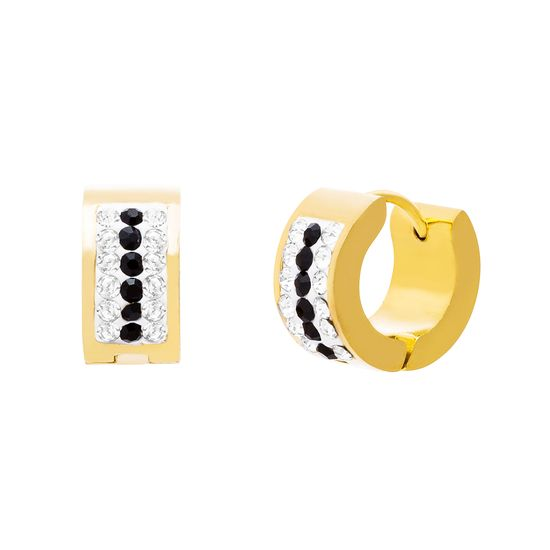 Imagen de Gold-Tone Stainless Steel Cubic Zirconia 3 Row Clear and Black Bar Pave Huggie Earring