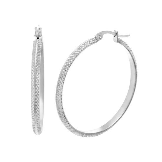 Imagen de Silver-Tone Stainless Steel 30mm Textured Knife Edge Hoop Earrings