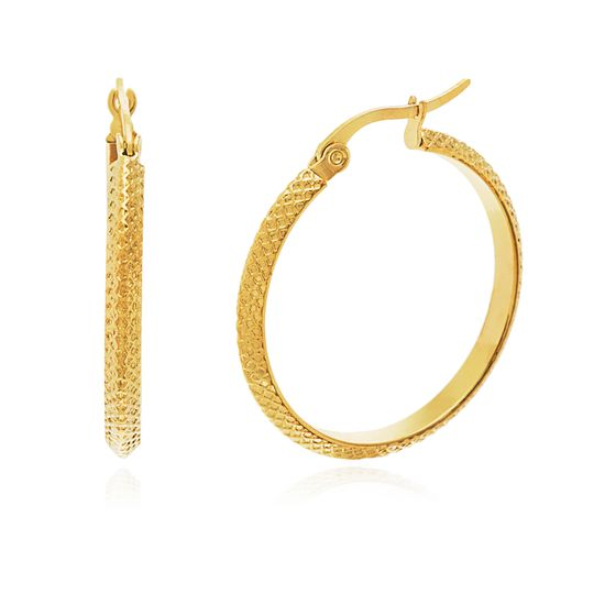 Picture of Gold-Tone Stainless Steel 20mm Textured Knife Edge Hoop Earrings