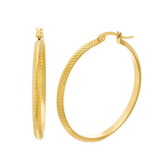 Imagen de Gold-Tone Stainless Steel Knife Edge Textured Hoop Earring