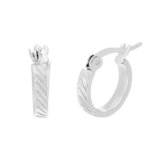Imagen de Silver-Tone Stainless Steel Striped Design Huggie Post Earrings