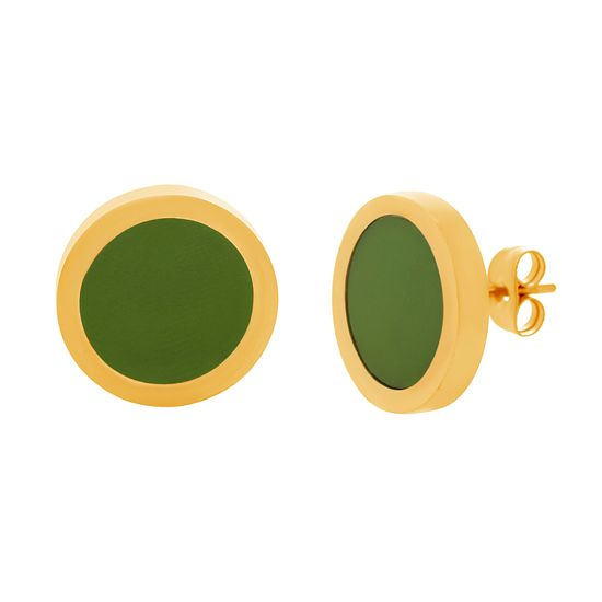 Imagen de Gold-Tone Stainless Steel Round Green Circle Earrings