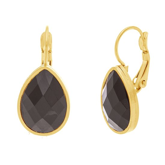 Picture of Gold-Tone Stainless Steel Black Teardrop Dangling Snapback Earrings