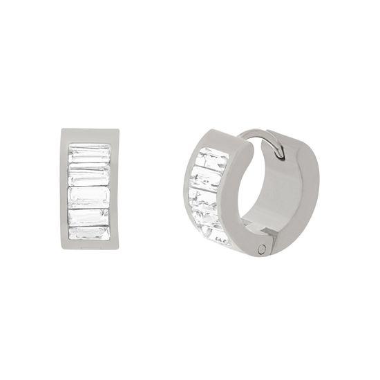 Imagen de Silver-Tone  Stainless Steel Cubic Zirconia Huggie Hoop Earrings