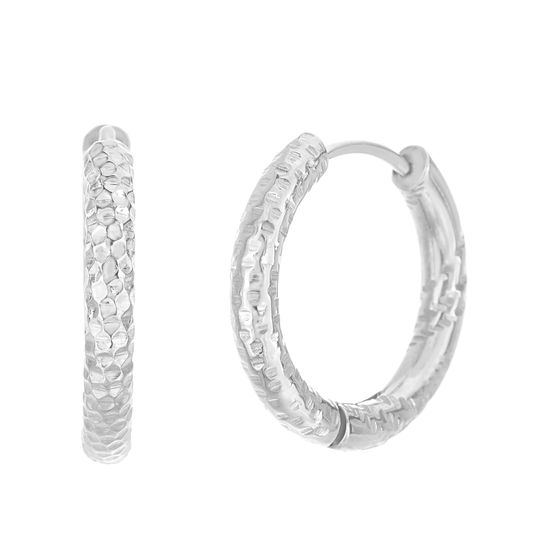 Imagen de Silver-Tone Stainless Steel Diamond Cut Textured Huggie Hoop Earring