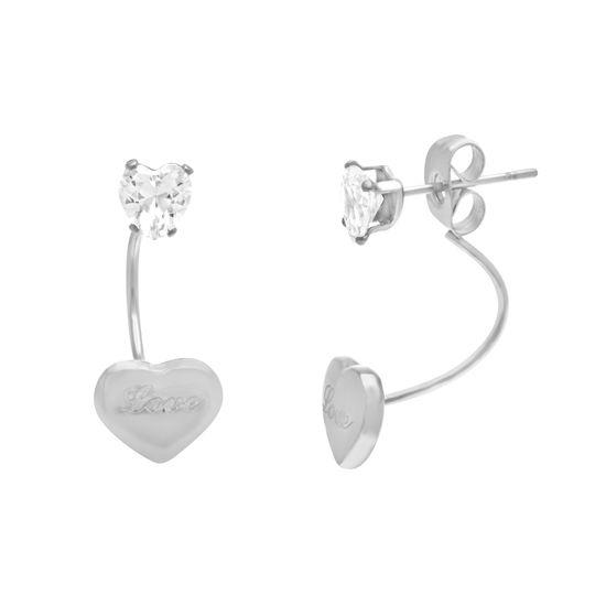 Imagen de Silver-Tone Stainless Steel Cubic Zirconia LOVE Heart Front and Back Post Earrings