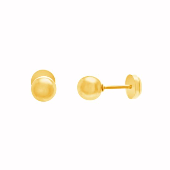 Imagen de Gold-Tone Stainless Steel Ball Front Push-In Earring