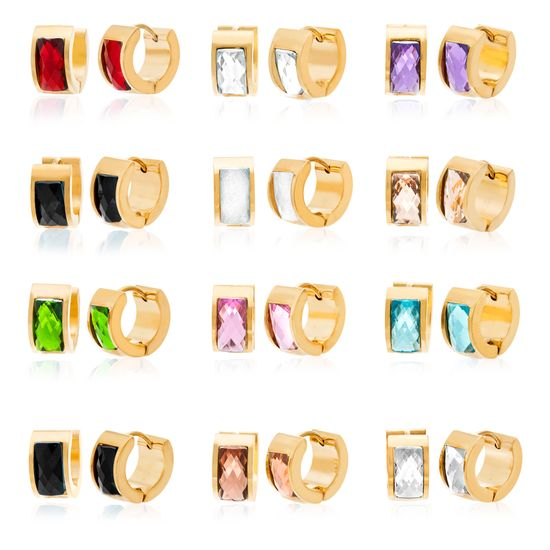Imagen de Silver-Tone Stainless Steel Textured Cubic Zirconia Multi-Colored Huggie 12 Pair Earring Set