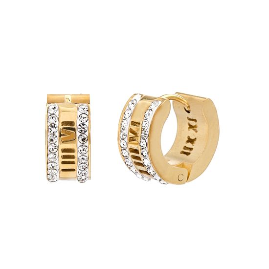 Picture of Gold-Tone Stainless Steel Cubic Zirconia Border Roman Numeral Earrings