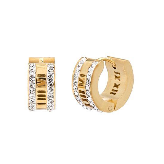 Imagen de Gold-Tone Stainless Steel Cubic Zirconia Border Roman Numeral Earrings