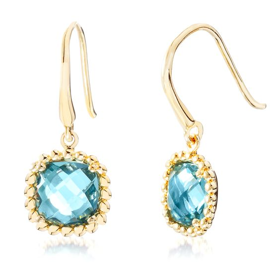Picture of Gold-Tone Stainless Steel Square Aqua Glass Beaded Border Dangle Hook Earring