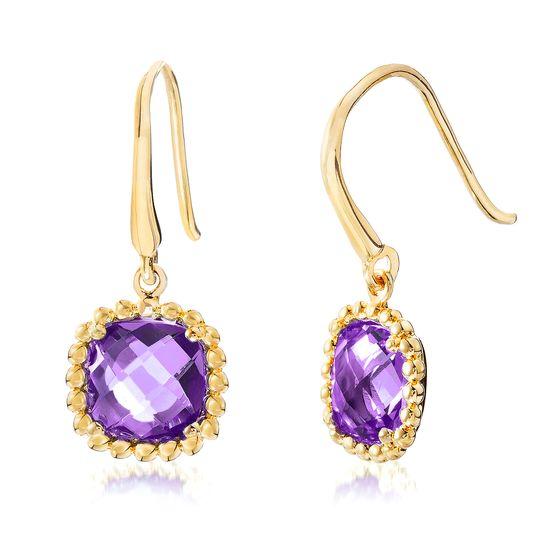 Imagen de Gold-Tone Stainless Steel Square Purple Glass Beaded Border Hook Earring