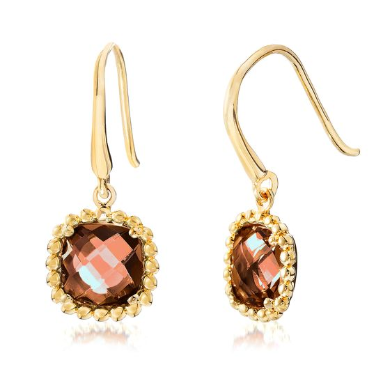 Imagen de Gold-Tone Stainless Steel Square Smoky Glass Beaded Border Dangle Hook Earring