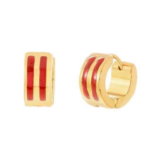 Imagen de Gold-Tone Stainless Steel Double Row Red Enamel Huggie Earring