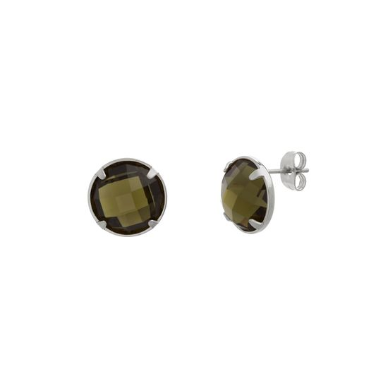 Imagen de Silver-Tone Stainless Steel 4 Prong Green Round Post Earrings