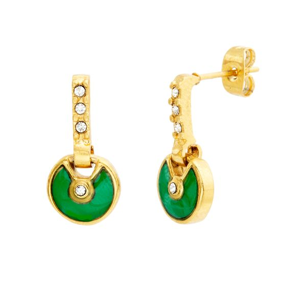 Imagen de Gold-Tone Stainless Steel Cubic Zirconia Green Post Earrings