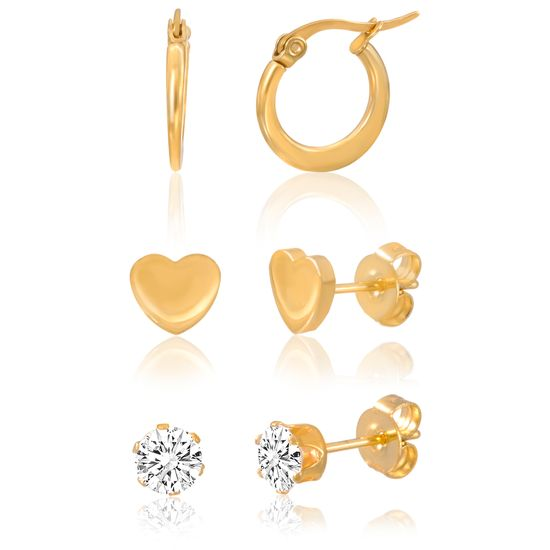 Imagen de Gold-Tone Stainless Steel Cubic Zirconia Three Piece Stud Heart and Hoop Earring Set