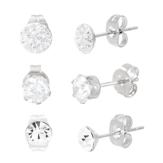 Imagen de Silver-Tone Stainless Steel Three Piece Cubic Zirconia Stud Post Earring Set