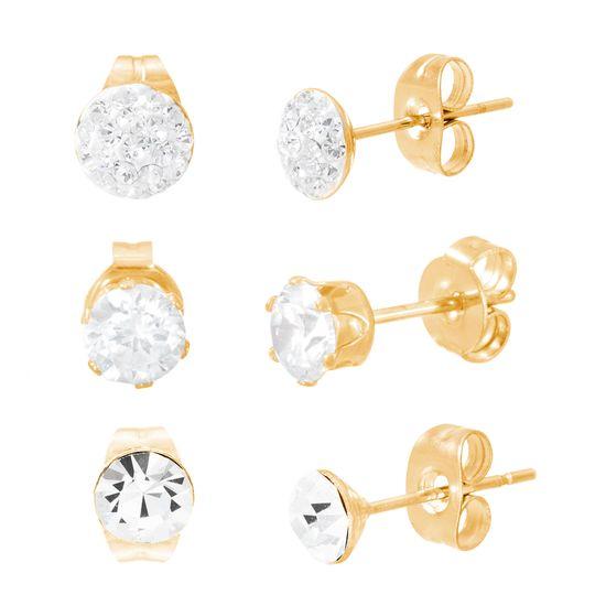 Imagen de Gold-Tone Stainless Steel Three Piece Cubic Zirconia Stud Post Earring Set