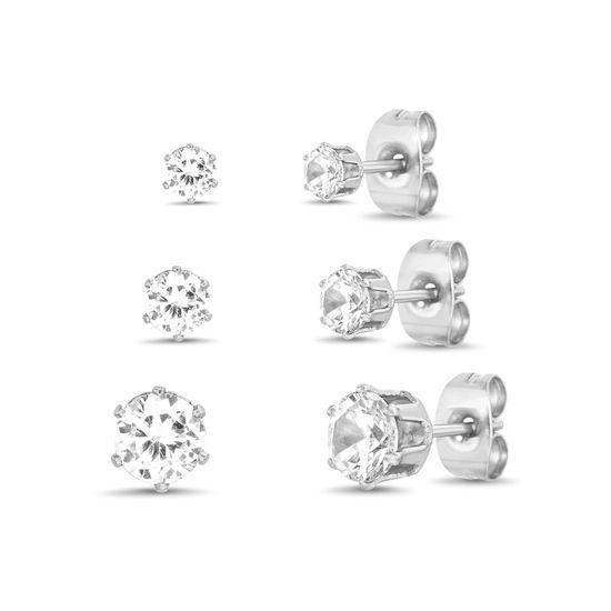 Imagen de Silver-Tone Stainless Steel 3pc Cubic Zirconia Stud Post Earring Set