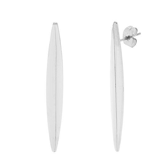 Imagen de Silver-Tone Stainless Steel Long Oval Bar Earrings