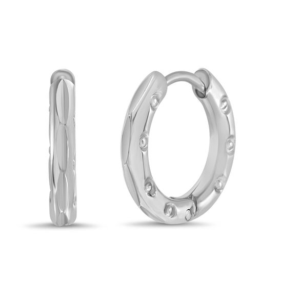 Imagen de Silver-Tone Stainless Steel Circle Cutout Textured Huggie Earring