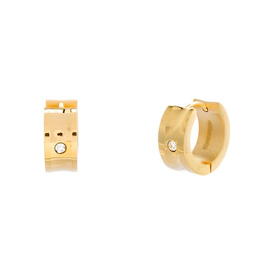 Imagen de Gold-Tone Stainless Steel Center Single Round Cubic Zirconia Polished Huggie Earring