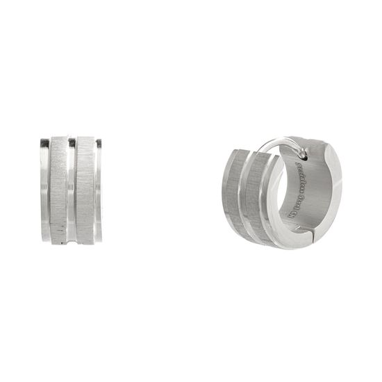 Imagen de Silver-Tone Stainless Steel Polished and Matte Stripped Textured Huggie Earring